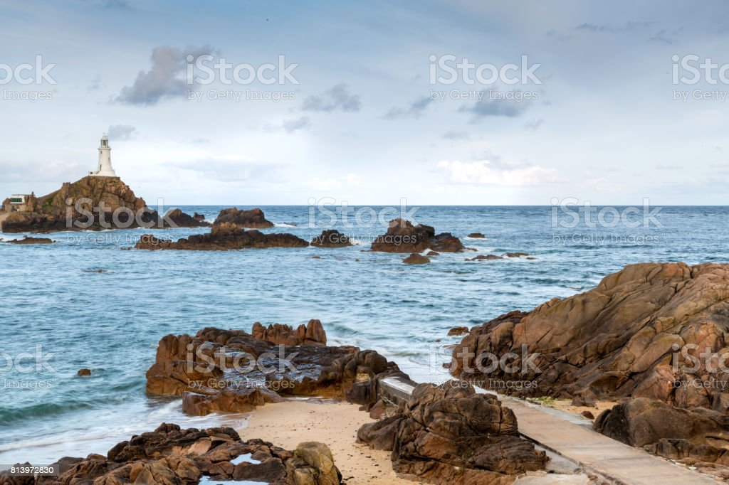Corbiere Lighthouse in Jersey, The Channel Islands stock photo