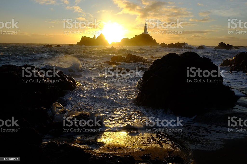 Corbiere lighthouse, Jersey. stock photo