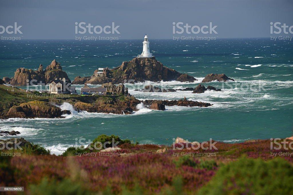 Corbiere lighthouse, Jersey, U.K. stock photo