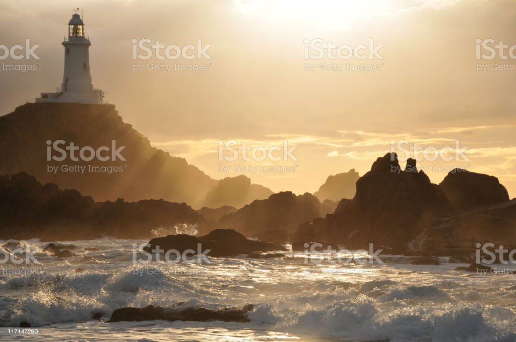 Corbiere Lighthouse,Jersey. stock photo