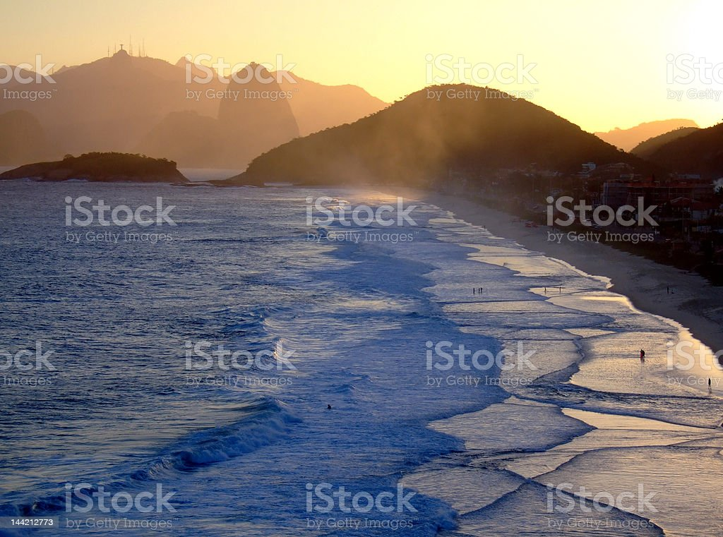 Corcovado view from Piratininga beach, in the late afternoon royalty-free stock photo