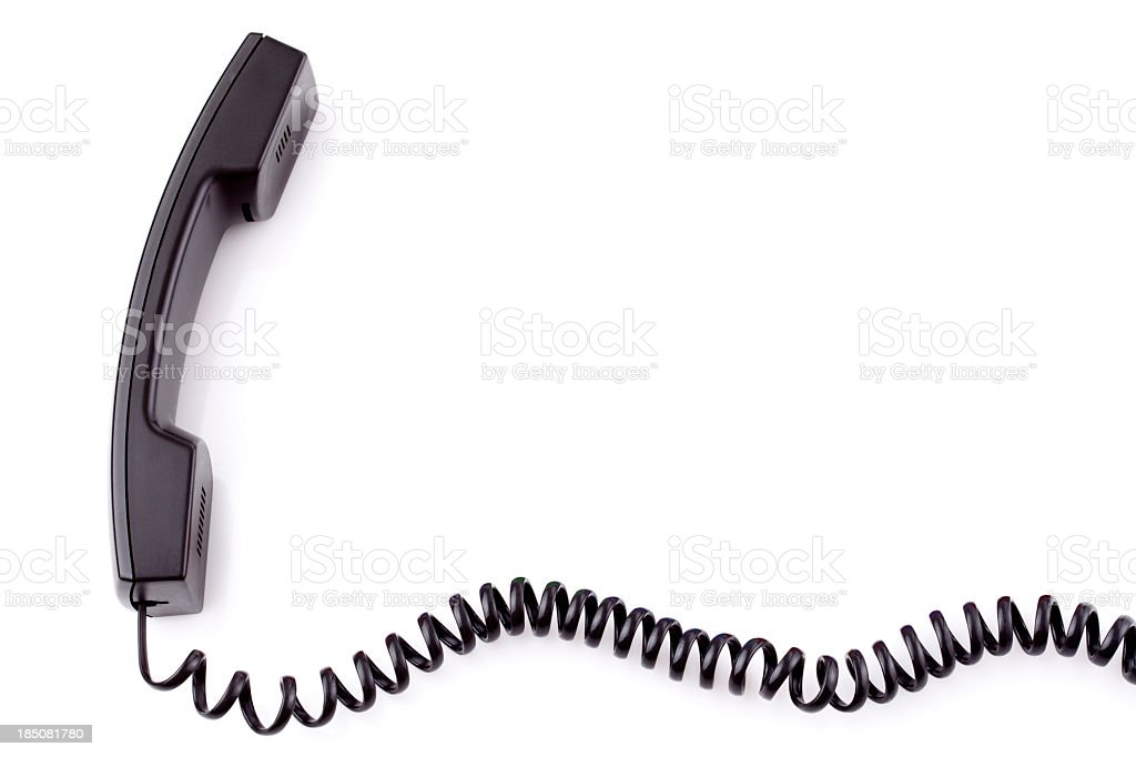 Corded telephone handset taken off the hook stock photo