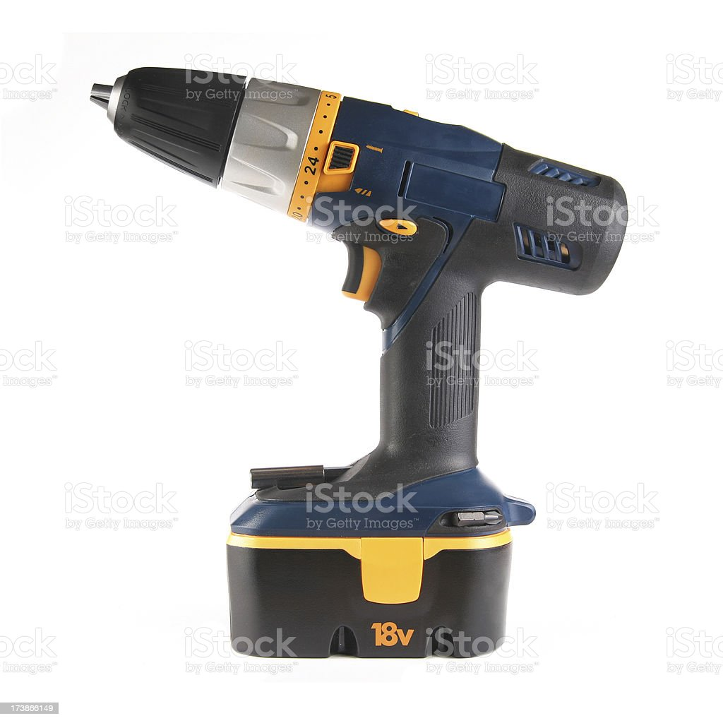 Cordless Drill on White royalty-free stock photo
