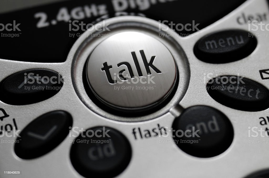 Cordless Telephone Talk Button Close-up royalty-free stock photo