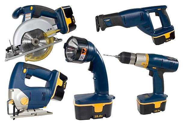 cordless tool set - elektrisch gereedschap stockfoto's en -beelden