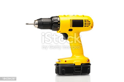 Yellow cordless power drill or screwdriver isolated on white. Other picture...