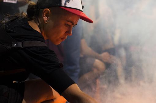 Cordoba Argentina November 17 2017 Girl Ignites Fire In Social Protest Stock Photo - Download Image Now
