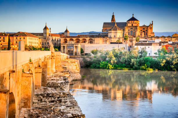 Cordoba - Cathedral Mezquita, Andalusia, Spain Cordoba, Spain. Roman Bridge on Guadalquivir river and The Great Mosque (Mezquita Cathedral) at twilight in the city of Cordoba, Andalusia. cordoba mosque stock pictures, royalty-free photos & images