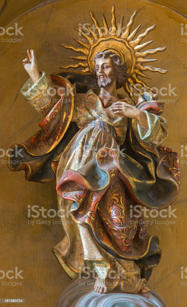 Cordoba -  Heart of Jesus Christ polychrome baroque statue stock photo