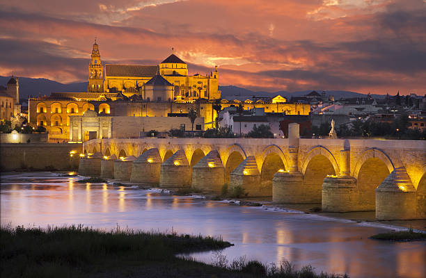 Cordoba - Roman bridge and the Cathedral stock photo