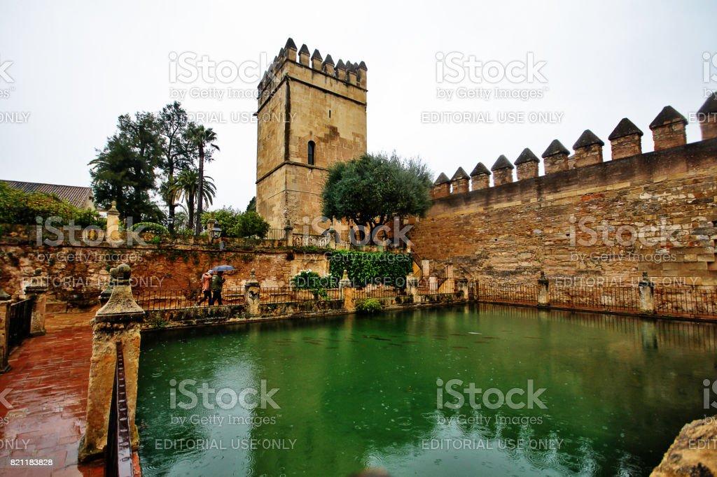 Cordoba, Spain - March 14, 2017 - Gardens of Alcazar de los Reyes Cristianos (Castle of the Christian Monarchs) or the Alcazar of Cordoba, the Alcazar centers on the Patio Morisco (Courtyard of the Moriscos) stock photo