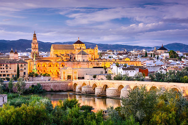 Cordoba, Spain Old Town Cordoba, Spain old town skyline at the Mosque-Cathedral. cordoba spain stock pictures, royalty-free photos & images