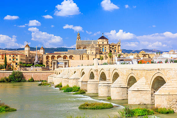 Cordoba, Spain. Cordoba, Spain. Roman Bridge and Mosque-Cathedral on the Guadalquivir River. cordoba spain stock pictures, royalty-free photos & images