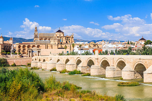 Cordoba, Spain Cordoba, Spain. The Roman Bridge and Mosque (Cathedral) on the Guadalquivir River. cordoba spain stock pictures, royalty-free photos & images