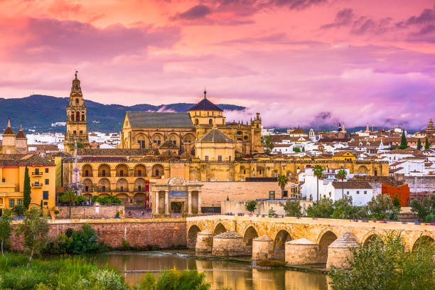 Cordoba, Spain Skyline Cordoba, Spain at the Mosque-Cathedral and Roman Bridge. cordoba spain stock pictures, royalty-free photos & images