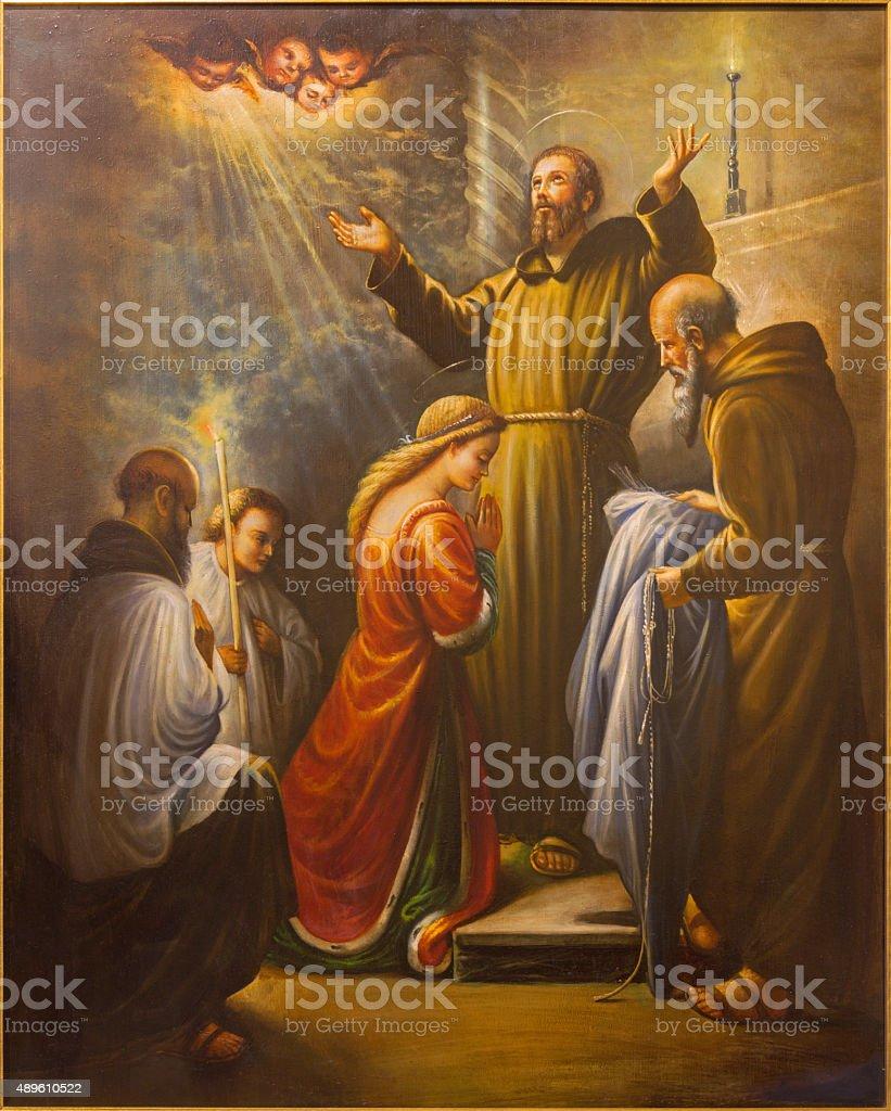 Cordoba - St. Francis of Assisi at ordination saint Clara stock photo
