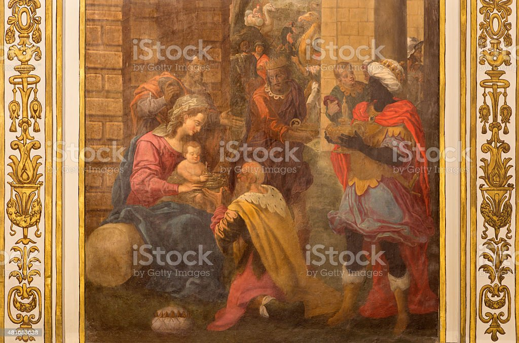 Cordoba - The Adoration of Magi fresco stock photo