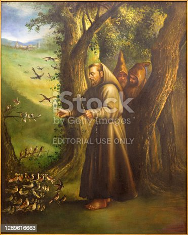 Cordoba - The modern paint of St. Francis of Assisi Preaching to the birds from 20. cent. in church Convento de Capuchinos (Iglesia Santo Anchel).