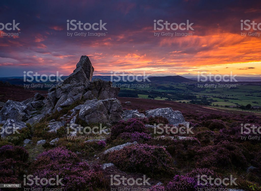 Cordon hill from the Stiperstones at sunset. stock photo