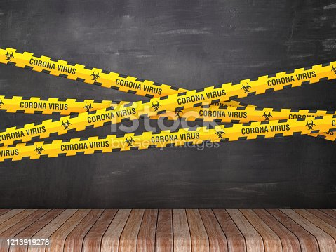istock Cordon Tape with CORONA VIRUS Words on Chalkboard Background - 3D Rendering 1213919278