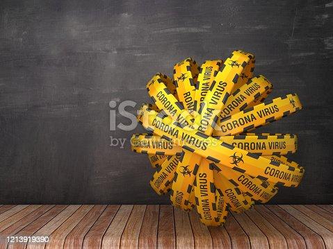 istock Cordon Tape with CORONA VIRUS Words on Chalkboard Background - 3D Rendering 1213919390