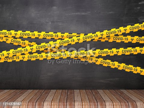 Cordon Tape with COVID-19 Word on Chalkboard Background - 3D Rendering
