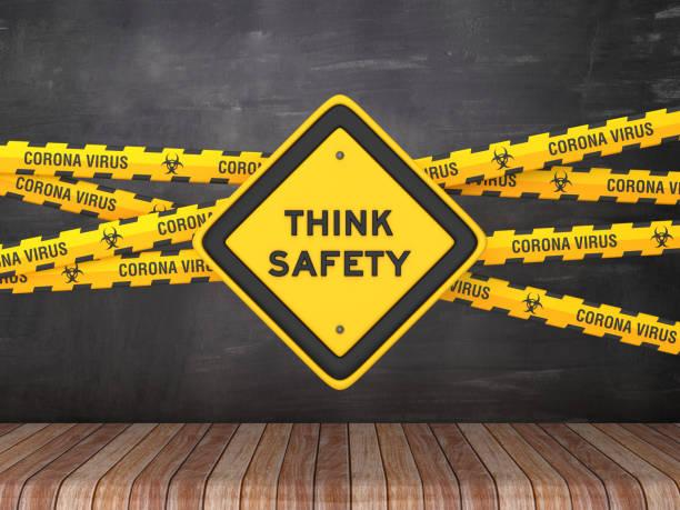 Cordon Tape mit THINK SAFETY Road Sign auf Tafel Hintergrund - 3D Rendering – Foto