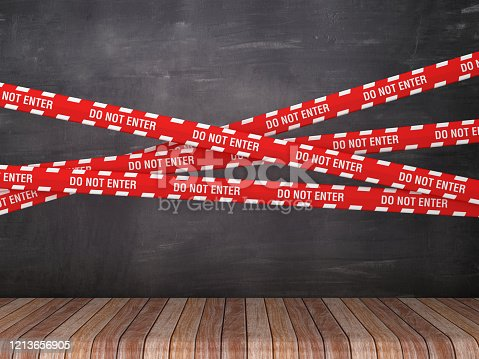 Cordon Tapes with DO NOT ENTER on Chalkboard Background - 3D Rendering