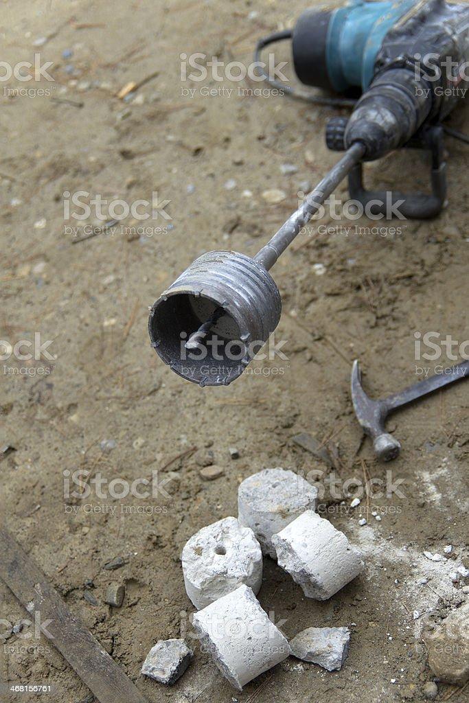 Core Drilling Bit with Concrete Slug royalty-free stock photo