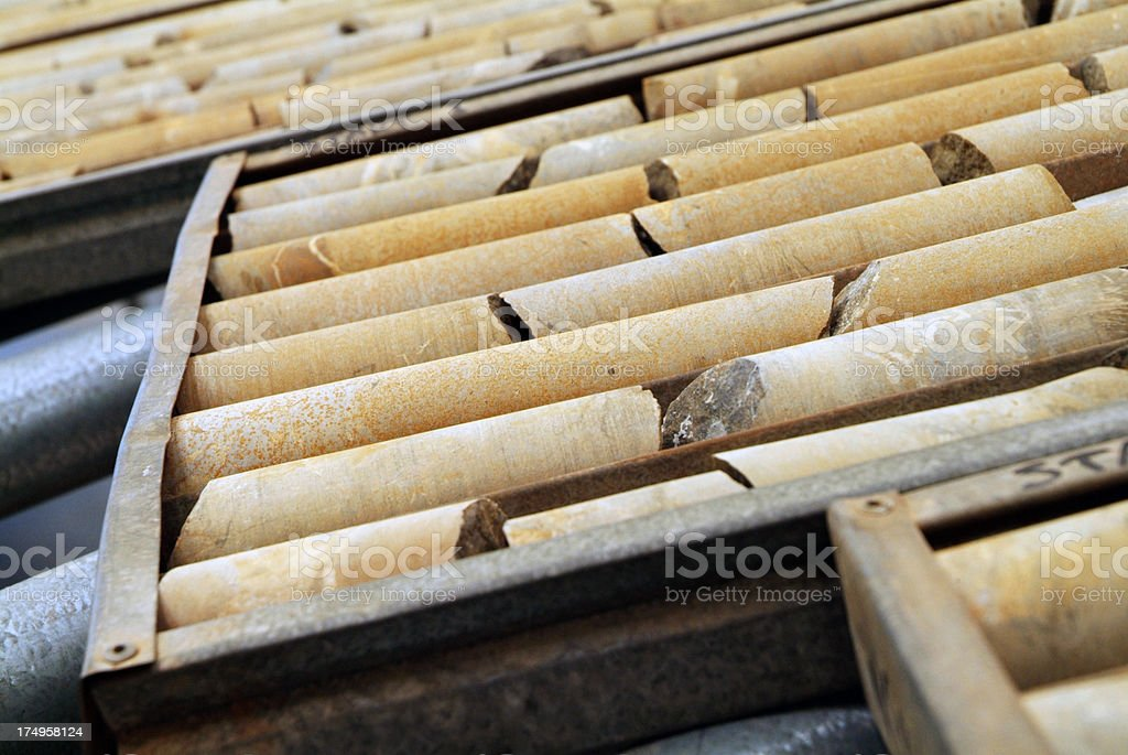 Core samples being stored in a sample tray. stock photo
