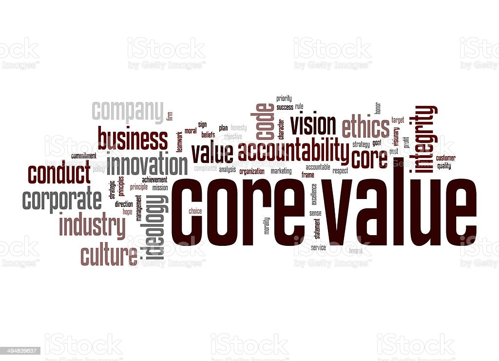 Core value word cloud stock photo