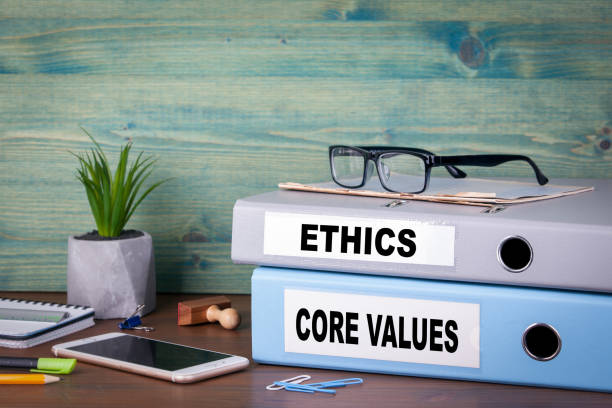 core values and ethics. Successful business and career background stock photo