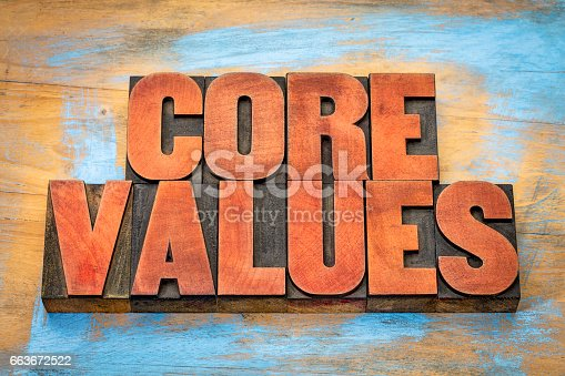 istock core values in vintage wood type 663672522
