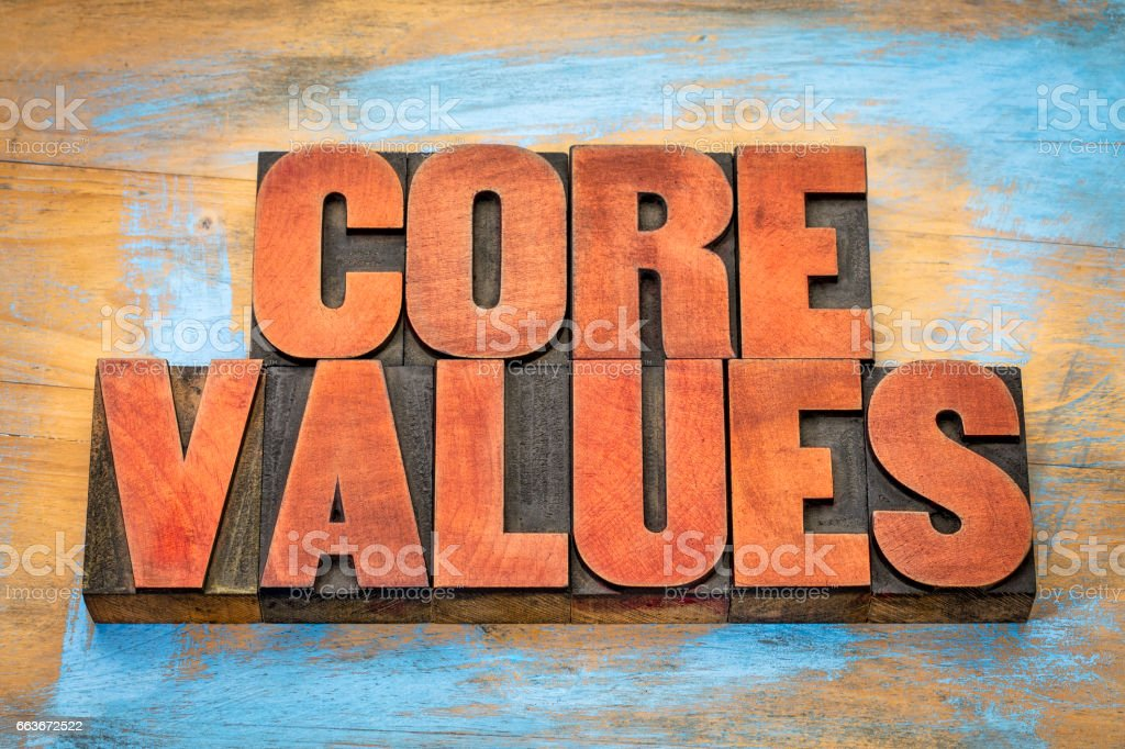 core values in vintage wood type stock photo