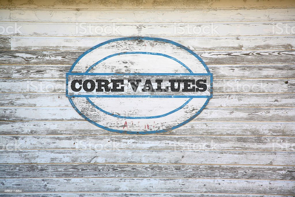 Core Values sign on shed stock photo