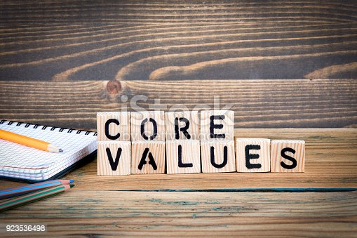 istock core values. Wooden letters on the office desk, informative and communication background 923536498