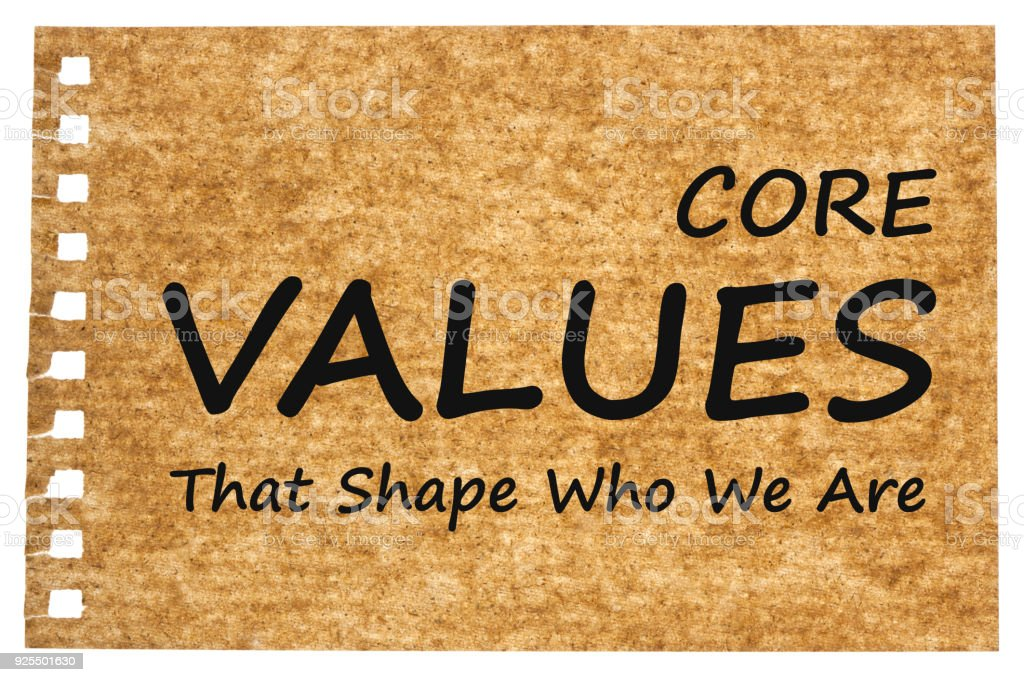 Core Values written on recycled paper stock photo