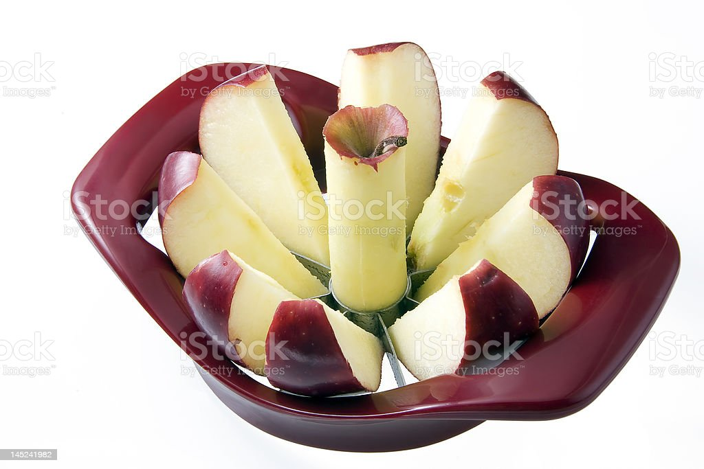 Cored and Sliced Apple royalty-free stock photo