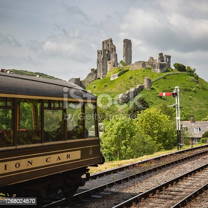 istock Corfe Castle from the Swanage Railway 1268024570