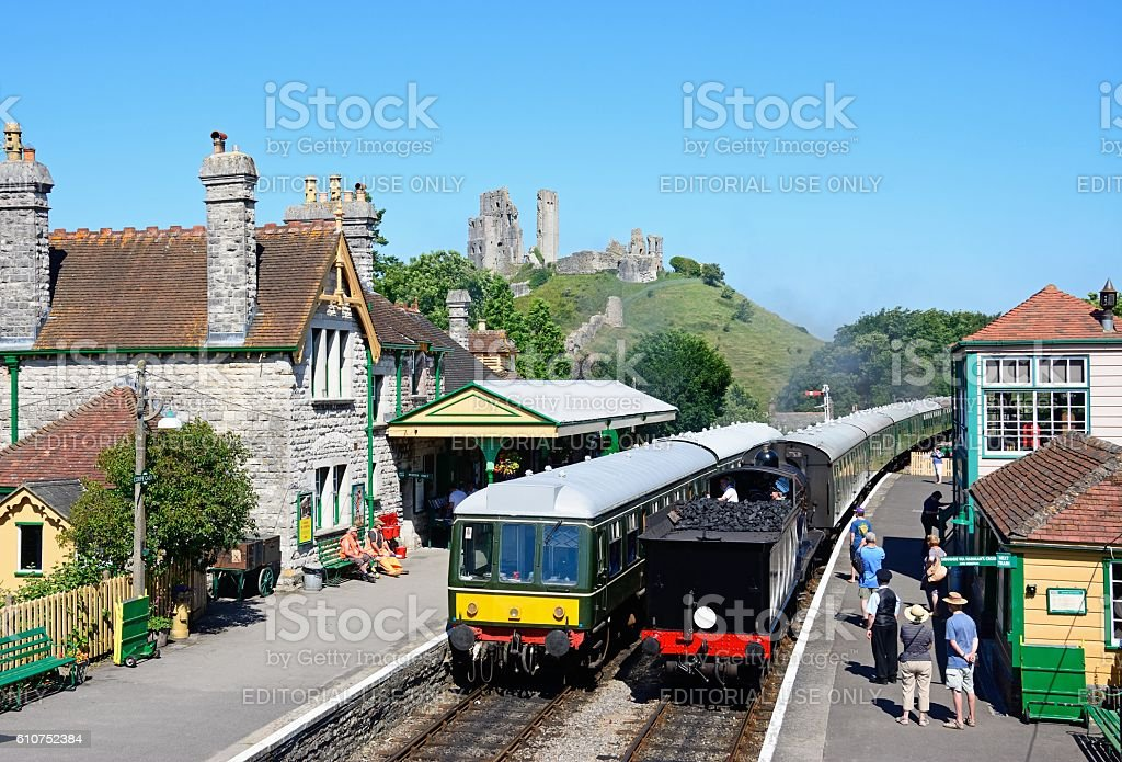 Corfe railway station and castle. stock photo