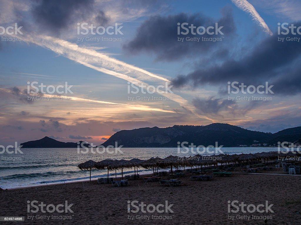 Corfu - Agios Georgios beach sunset stock photo