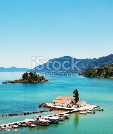 The Vlacherna Monastery and Mouse island (Pontikonisi) Corfu, Greece