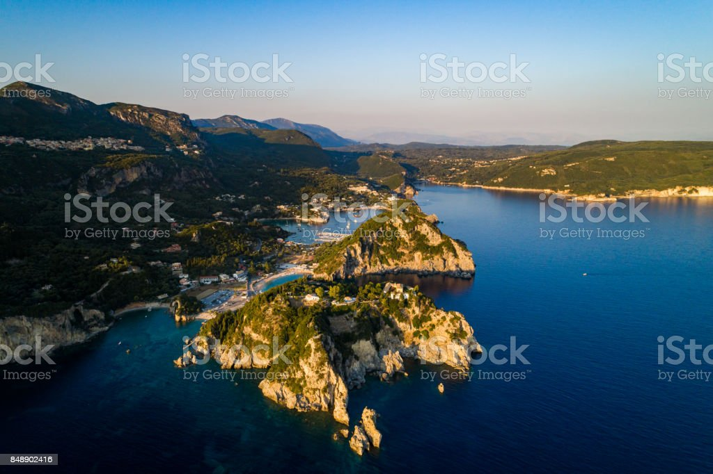 Corfu Paleokastritsa Aerial view stock photo