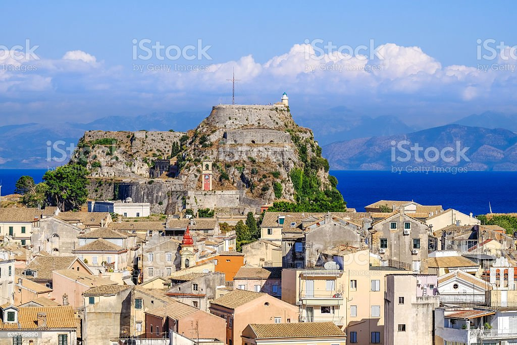 Corfu panorama over the old city. Venetian fortress in backgroun stock photo