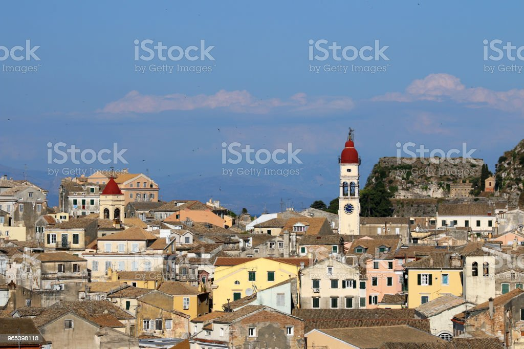 Corfu town cityscape Greece summer season zbiór zdjęć royalty-free