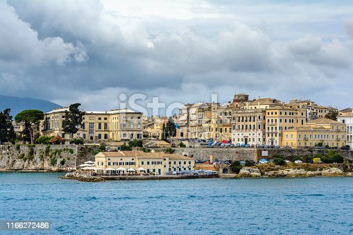 Panoramic view on corfu town, capital city of Kerkira Island. Photography is made from ferry.