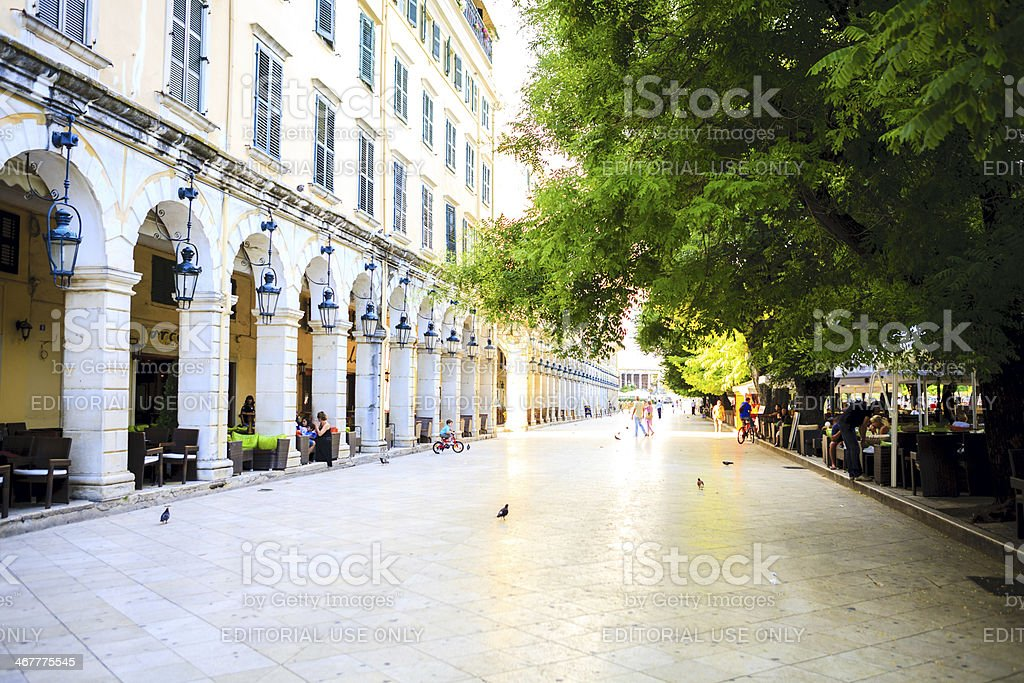 Corfu town Liston street stock photo