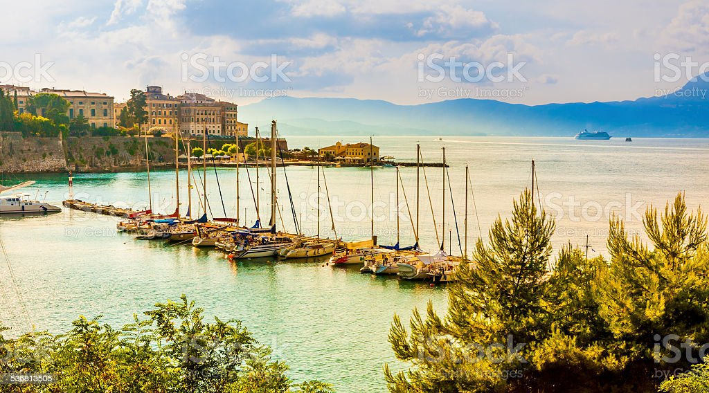 Corfu town marina stock photo