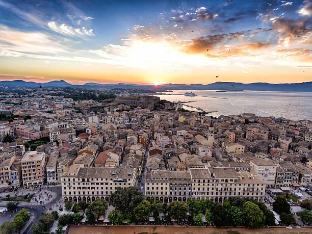 Corfu town panoramic sunset. Aerial image from drone. Kerkyra is stock photo