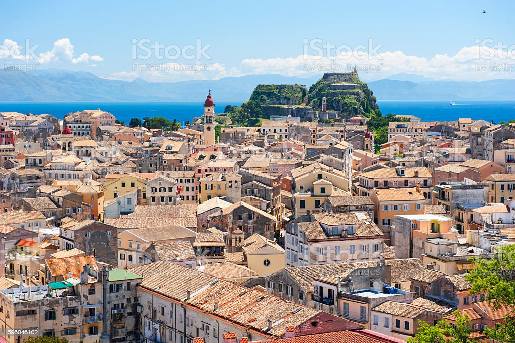 Corfu town skyline stock photo